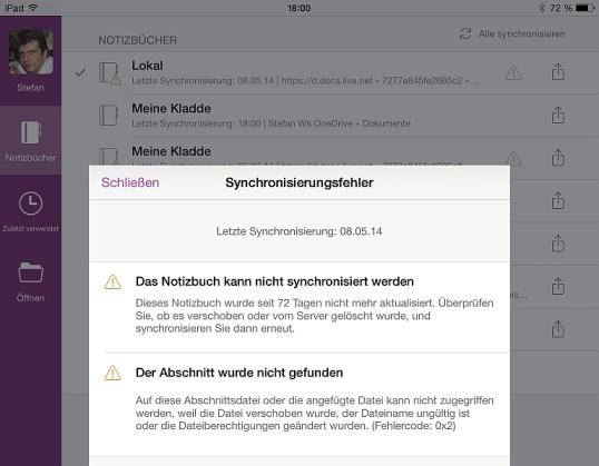 Verschmerzbar: Bei Mißbrauch des OneNote-Caches als Offline-Notizbuch gibt's Synchronisierungsfehler. So aufdringlich wie hier aber nur bei Antippen des Warndreiecks.