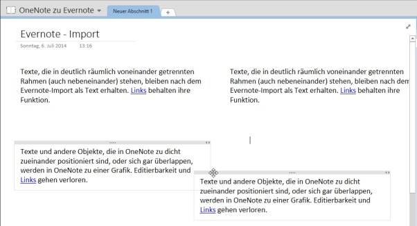 In OneNote kein Problem: Dicht zusammen stehende oder sich überlappende (unten) Objektrahmen.