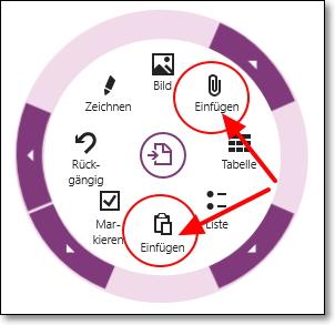 Grenzen des Radialmenüs: Das untere Einfügen-Symbol meint die Zwischenablage, das neue mit der Büroklammer steht für Dateien und PDF-Ausdrucke.