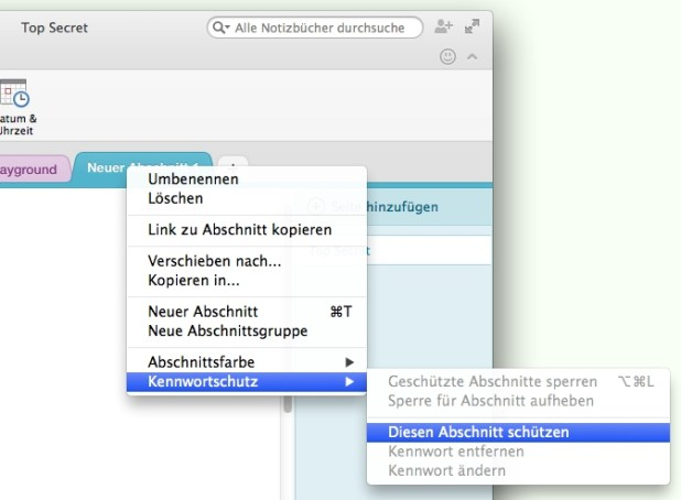Auch auf dem Mac lassen sich OneNote-Abschnitte nun verschlüsseln und nicht nur entsperren.