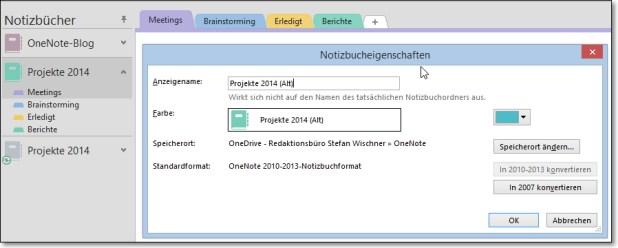 """Um Verwechslungen beim Verschieben zu vermeiden, können Sie den Anzeigenamen des alten Notizbuchs ändern. Hier wurde einfach """"(Alt)"""" hinzugefügt. Die tatsächlichen Dateinamen bleiben davon unberührt."""
