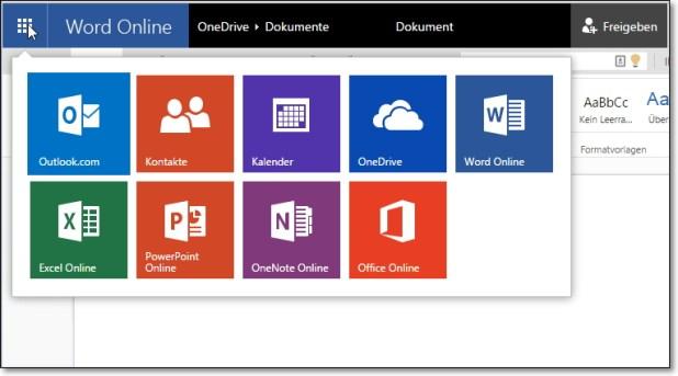 ...genau so wenig wie die anderen Web-Apps von Office Online. Alle benötigen nur einen kostenlosen Microsoft-Account, aber kein Office-365-Abo.