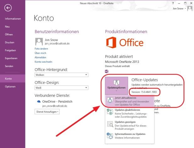 Die Aktualisierung auf die neue Free-Version von OneNote 2013 lässt sich direkt aus dem Programm heraus anschieben.