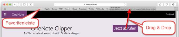 Ziehen Sie die Schaltfläche von der Webseite mit gedrückter Maustaste in die Favoritenleiste.