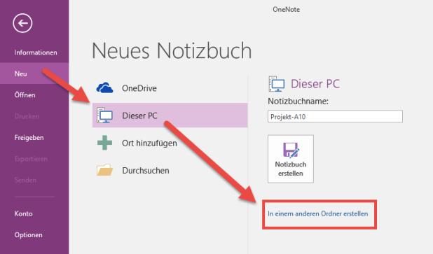 """Wählen Sie beim Anlegen eines lokalen Notizbuchs """"In einem anderen Ordner erstellen"""", können Sie auch einen Speicherort auf einem Fileserver nutzen."""