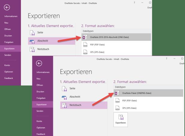 Auch mit dem kostenlosen OneNote 2016 lassen sich Abschnitte als ONE-Datei und ganze Notizbücher im ONEPKG-Format lokal speichern. Auch dann, wenn das Notizbuch selbst auf OneDrive liegt.