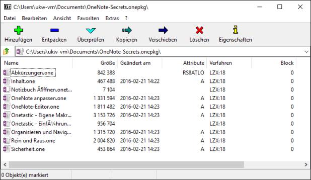 Packprogramme wie das kostenlose 7-Zip können ONEPKG-Dateien auspacken. Dabei entstehen ONE-Dateien, die sich wie gezeigt ja auch im Gratis-OneNote laden lassen.