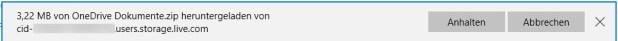 Je nach Größe und Anzahl der im Ordner enthaltenen Dateien und Notizbücher kann es jetzt eine Weile dauern. Zunächst werden alle Files in eine ZIP-Datei verpackt (das ist Standard beim Download mehrerer Dateien aus OneDrive) und dann auf Ihren Rechner heruntergeladen.