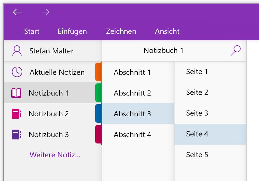 Aufbau der OneNote-App