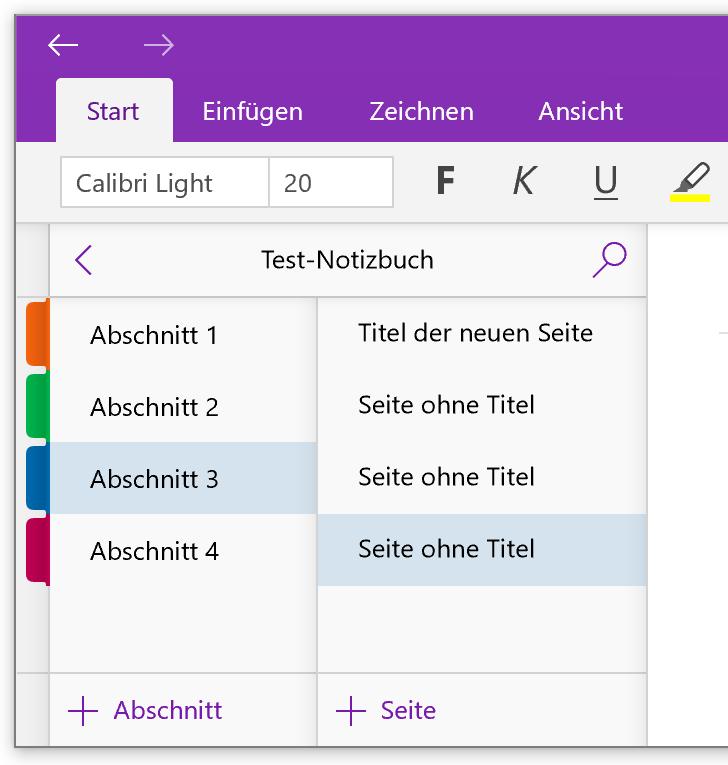 Seite hinzufügen in der OneNote-App für Windows 10
