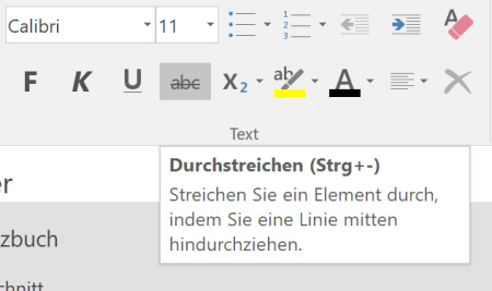 Info-Box zu Funktionen in OneNote