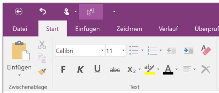 Text-Funktionen in OneNote