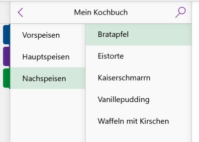 Kochbuch in OneNote mit Abschnitten