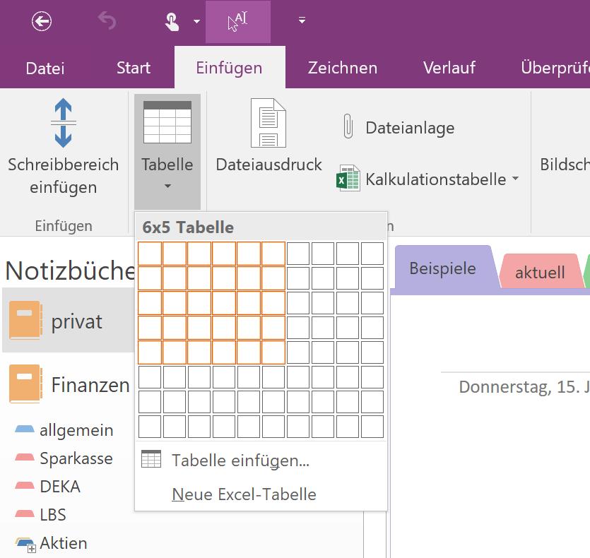 OneNote-Tabelle erstellen