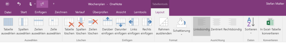 Tabellenfunktionen in OneNote