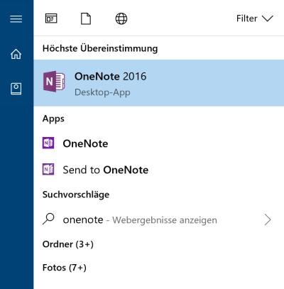 OneNote 2016 im Startmenü von Windows 10