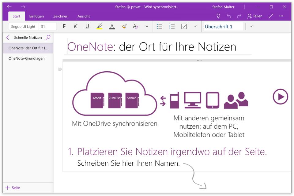 erster Start der OneNote-App