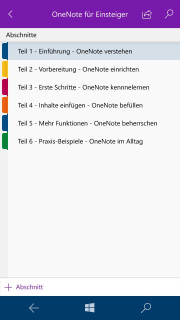 OneNote-App für Windows 10 Mobile