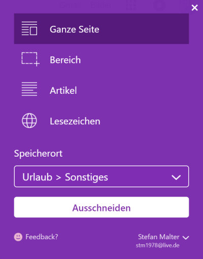 Optionen im OneNote Web Clipper