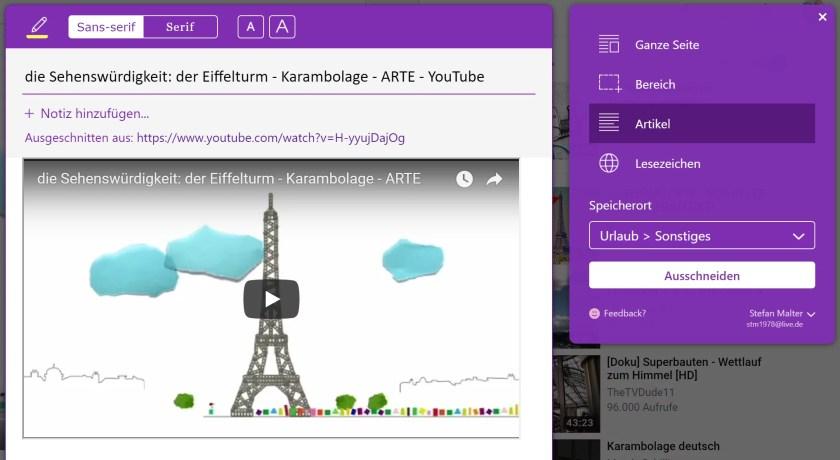 YouTube-Video mit OneNote Web Clipper speichern