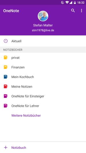 OneNote-Notizbücher in der Android-App