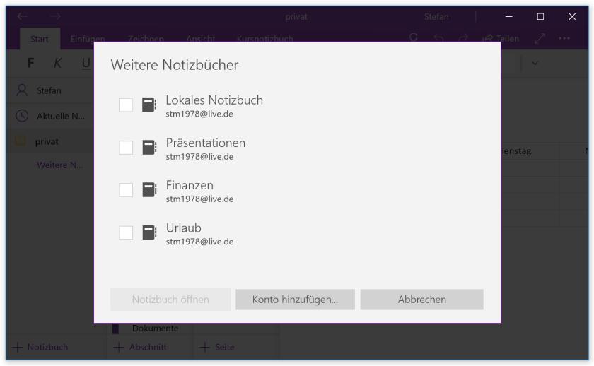 Notizbücher in der OneNote-App für Windows 10 öffnen