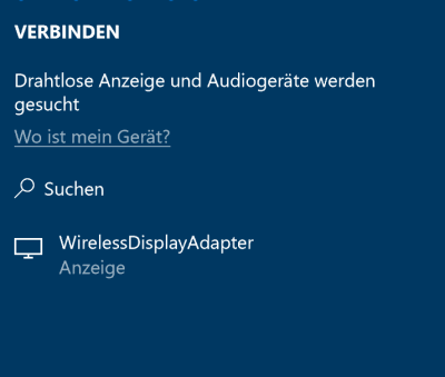Drahtlose Anzeige verbinden in Windows 10