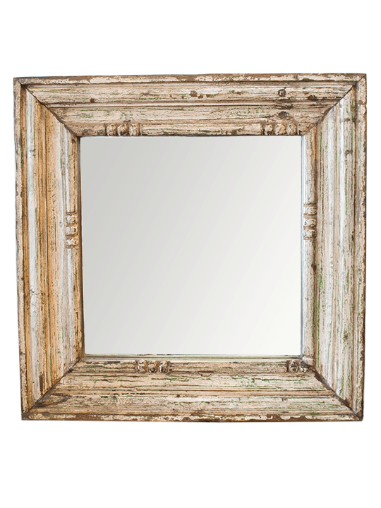 Rustic Wood Framed Mirror with Green Accents