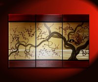 Large Acrylic Painting Love birds in Cherry Blossom Tree ...