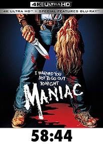 Maniac Blue Underground 4k Review