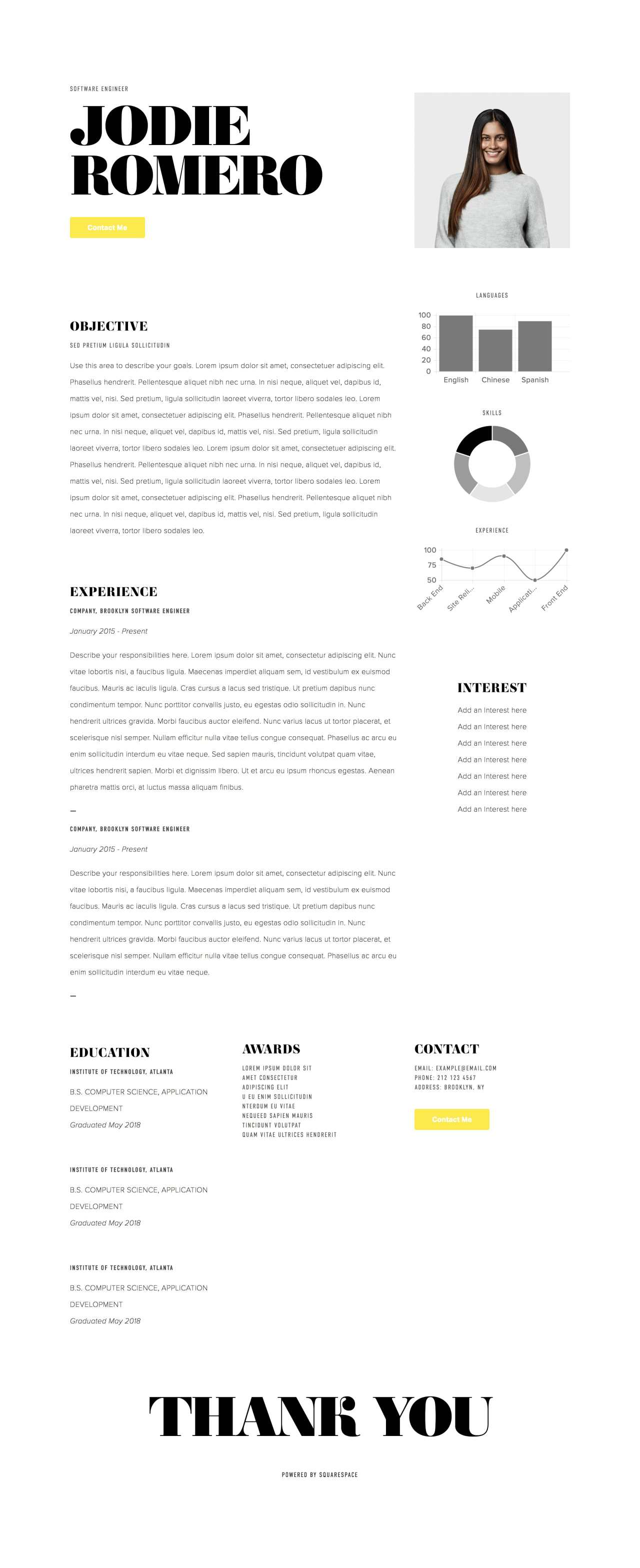 Squarespace Resume Template 5 New One Page Templates From Squarespace