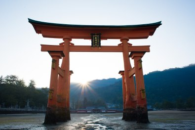 The famous floating torii gate at the Shinto shrine on Itsukushima Island, Japan.