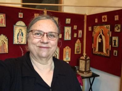 Ellen, in my little studio in Chimayo, New Mexico. I live a mile from the pilgrimage church of El Santuario de Nuestro Señor de Esquipulas, or commonly called El Santuario de Chimayo, the Lourdes of America.