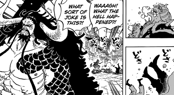 Luffy uses haosyoku Haki but he is captured.