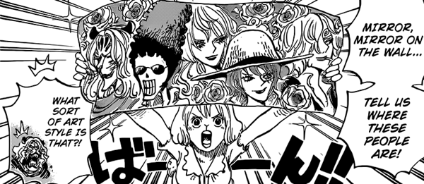 PEDORO had fought with TAMAGO. CARROT asked Mirrors saw SANJI's retrieval team