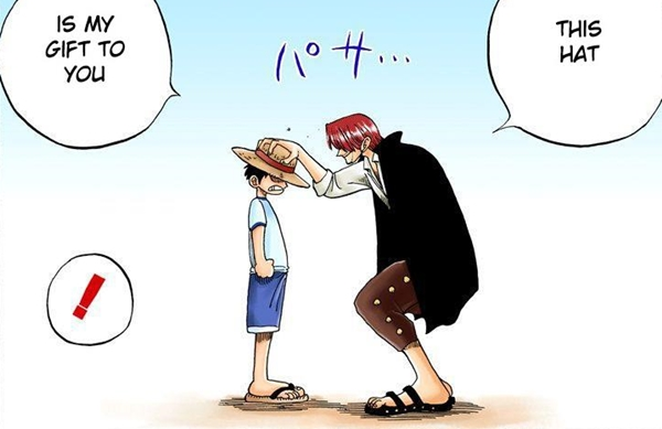 Shanks gives LUFFY his straw hat.
