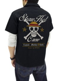 One Piece Straw Hat Pirates EmbroideryWork Shirt BLACK 01