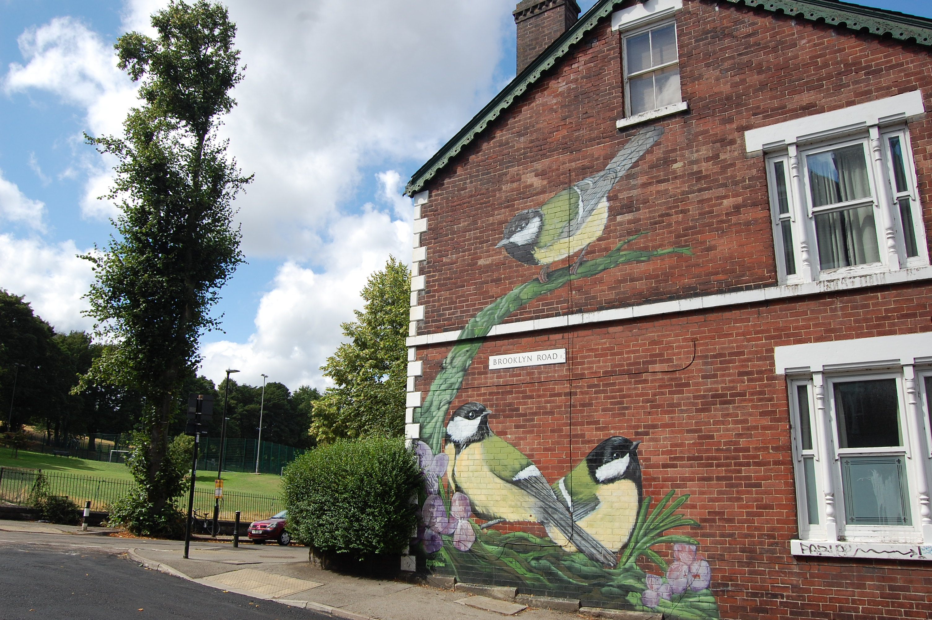Street art depicting three Great Tit birds among flowers on the side of a house on Brooklyn Road, Meersbrook, Sheffield