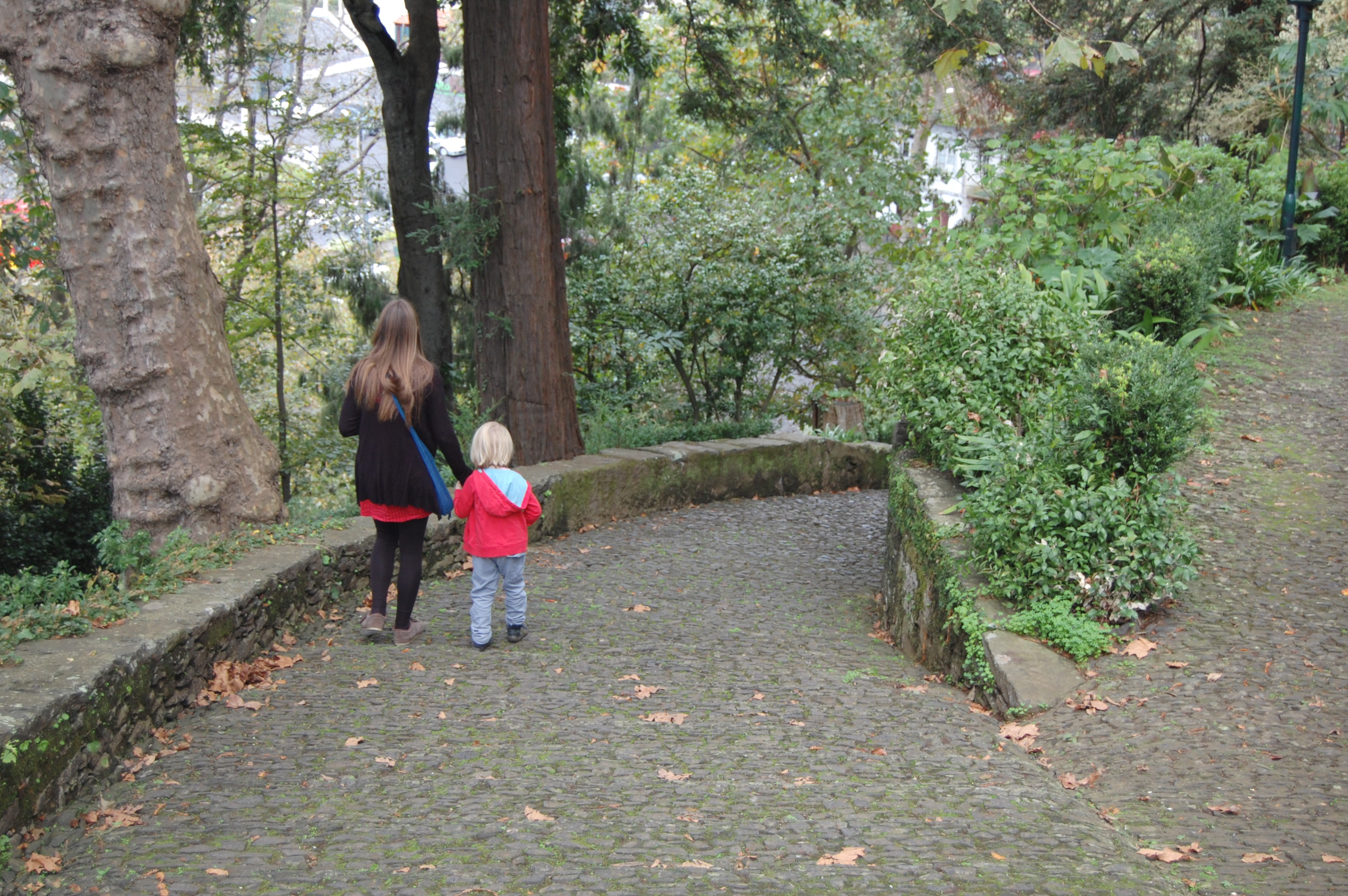 The author and her son walking down a wooded, cobbled path in Monte, Madeira.
