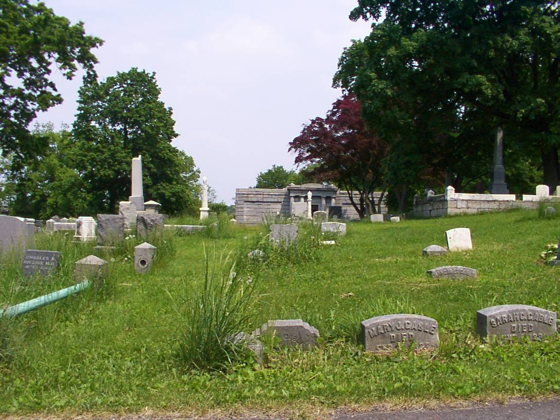 Shamokin Cemetery: The large mausoleum is visible in the background