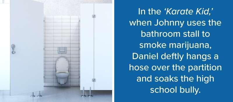 Iconic Movie Bathroom Scenes One Point Partitions - School bathroom stalls