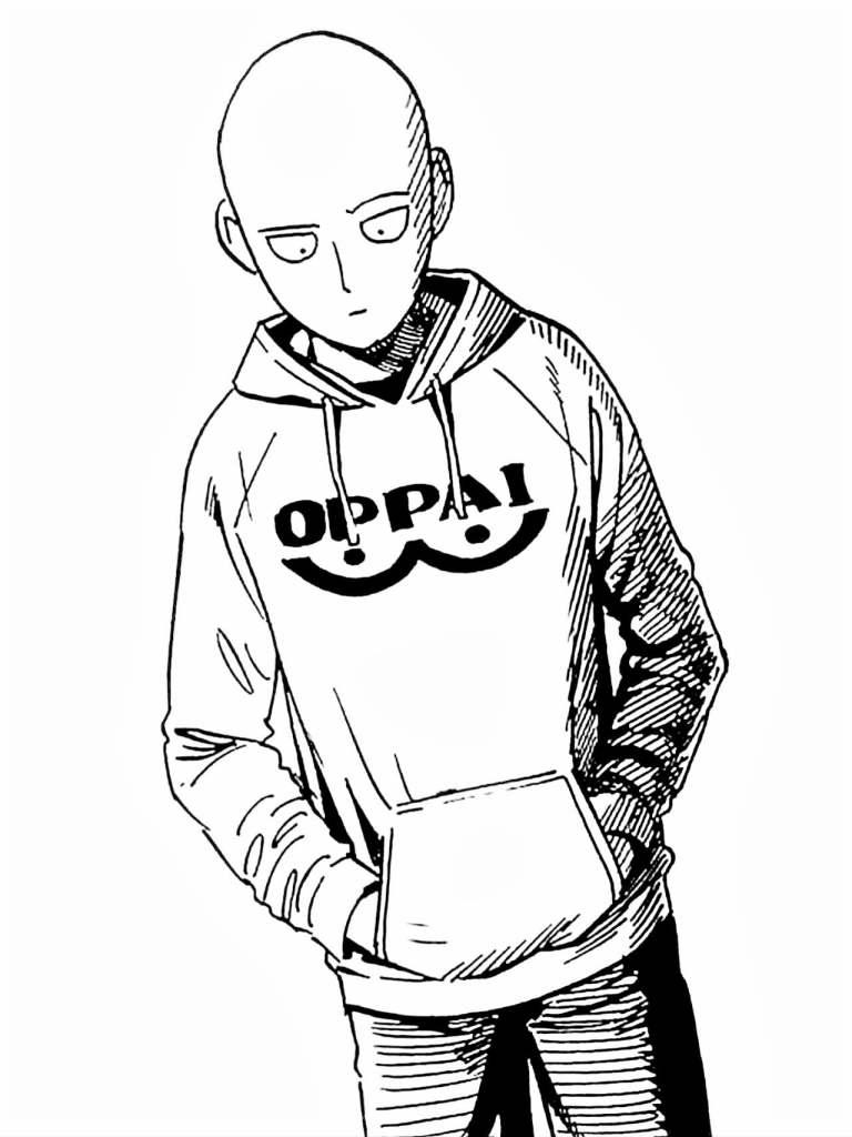 oppai opm one punch man colorir 768x1024 - Saitama Oppai One Punch man para colorir