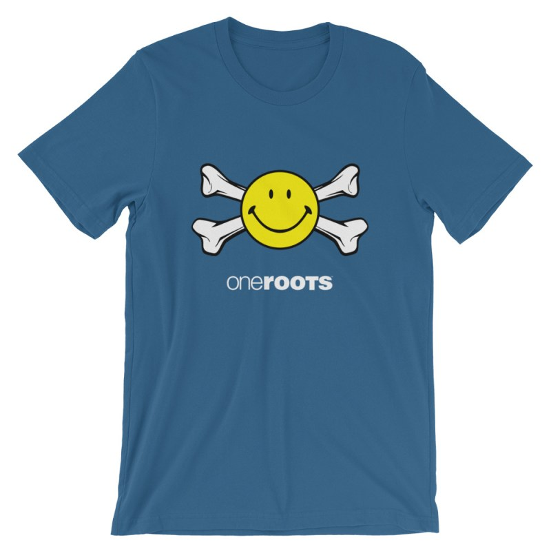 oneROOTS™ - Smiles & Bones - T-Shirt - Steel Blue