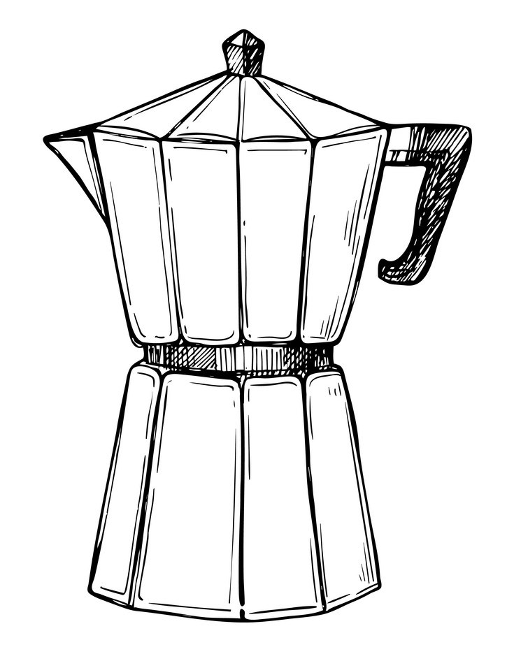 Coffee maker freehand pencil drawing by Candela & Álvaro