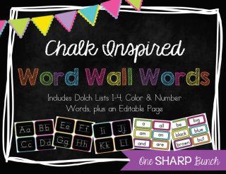 http://www.teacherspayteachers.com/Product/Chalk-Inspired-Word-Wall-786960