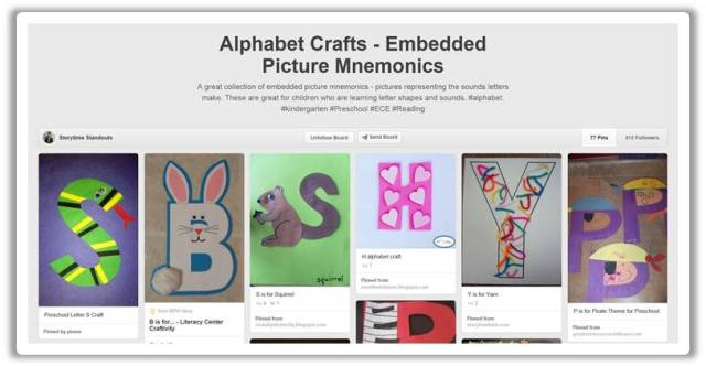 http://www.pinterest.com/storystandouts/alphabet-crafts-embedded-picture-mnemonics/