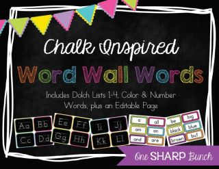 http://www.teacherspayteachers.com/Product/Chalk-Inspired-Word-Wall-786960