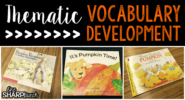 Do your student struggle with learning new vocabulary words? Check out these tips for building vocabulary and making abstract words more concrete! Plus, there are a variety of pumpkin ideas perfect for pumpkin week, like these pumpkin read alouds!