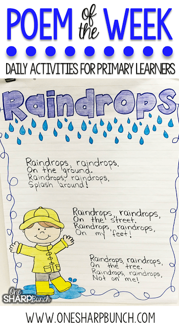 This rain poem is the perfect way to incorporate poetry activities into your daily lessons this spring! By using a poem of the week, you help build reading fluency, phonics and phonemic awareness skills, comprehension, concepts of print and more! Don't forget to check out the great poetry writing prompt perfect for creating a copycat poem!