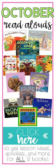 October picture books and read aloud activities, including FREEBIES for pumpkin activities, spider activities, bat activities and MORE!